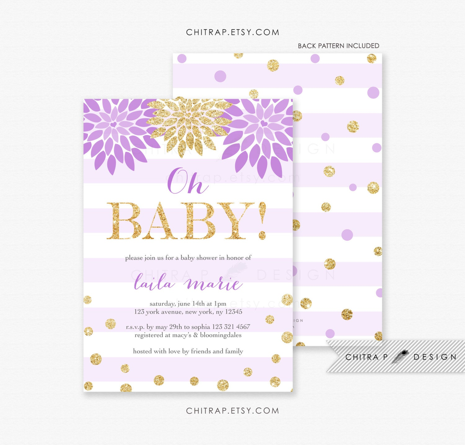 oh baby shower invitation printed purple lavender gold