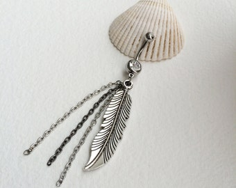 chain belly ring,feather bellybutton ring, belly ring, tribal, Belly button ring, dangle, long, belly ring FEATHER CHAIN