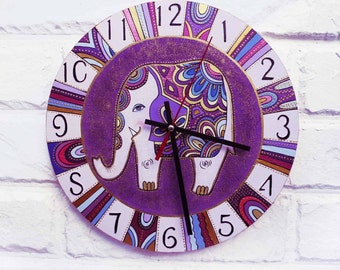 The Purple Elephant  Wall Clock Home Decor for Children Baby Kid Boy Girl Nursery Playroom