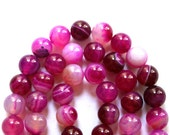 Beautiful 8mm Pink Striped Agate Gemstone Beads