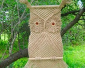 """Macrame Wall Hanging (3 pieces): """"Owl  Fomka"""" and """"Owl Buka"""" (2 pieces), woven of jute cord - MADE TO ORDER"""