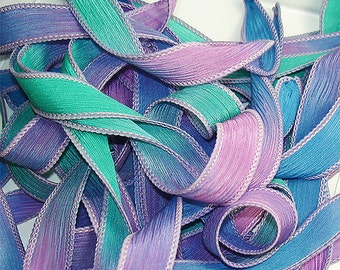 Festival Hand Dyed Silk Wrist Wrap Ribbon// DIY 42 inch silk ribbons//Wrap Bracelet Silk Ribbons// Silk Ribbon// By Color Kissed Singles