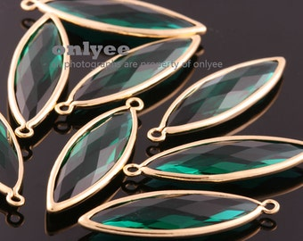 2pcs-33.5mmX10.5mmGold plated Brass Large tear drop Framed glass with  pendants-Emerald(M384G-F)