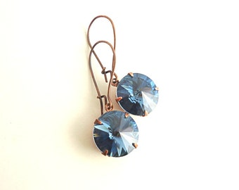 Swarovski earrings, denim blue earrings, rivoli earrings, Swarovski crystal earrings, vintage style earrings, blue and copper earrings
