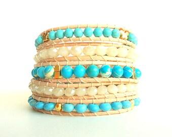 Turquoise, Beige, Gold 5 Wrap Leather Bracelet/ semi precious bracelet/ stack bracelet/ boho bracelet/ beach bracelet/ summer trends 2018