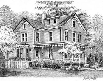 Real Estate Gift Custom Home Portrait- Graphite Pencil Original Your My Home Sketch Drawing Christmas  First Home  Closing Gifts