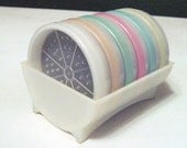 "Vintage 50s Tupperware Set of Six 3"" Diameter Pastel Colored Coasters In Original Holder, Excellent"
