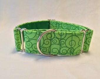 "1.5"" Green Swirl Martingale Collar"