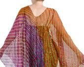 Flowing Gypsy Jacket, Boho Kimono, Orange and Pink Jacket, Silk Chiffon Indian Caftan, Kaftan, Embroidered Beaded Jacket, Silk Kimono