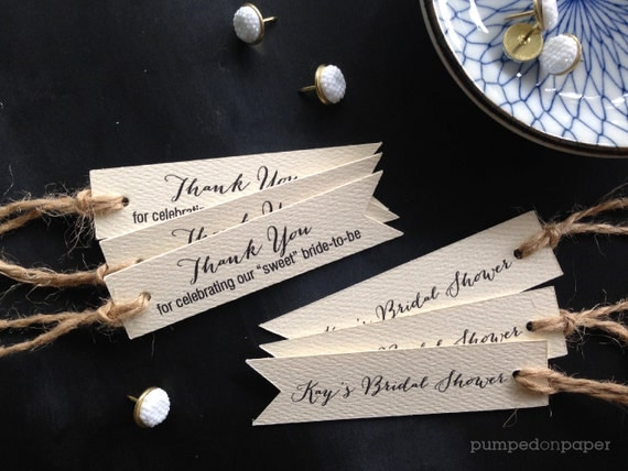 cream wedding favor tags - pennant flag double sided printing - set of 20 - bridal shower favor tags - thank you tags