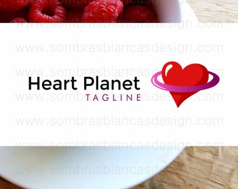 OOAK Premade Logo Design - Heart Planet - Perfect for a dating website or an adult toys shop