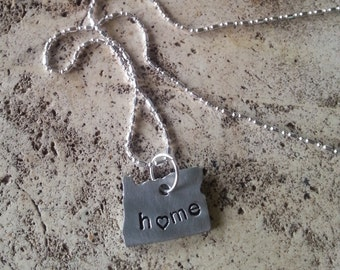 Recycled Metal Oregon Rustic State Necklace hand stamped heart metal necklace