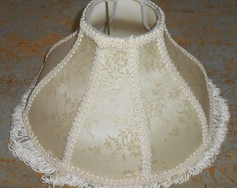 Vintage Lamp Shade, Beige, Tan, Ivory, Brocade, Shabby, Floral,  Lamp Shade With Fringe