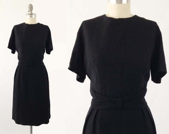 Vintage 60s Wiggle Dress - Short Sleeve Black Cocktail Dress -  Sheath Pencil Party Dress by Fashionmaker Original - Size Large L