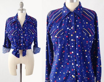 Vintage 70s Blue Western Shirt - H BAR C  Long Sleeve Pearl Snap Blouse Top in Primary Colors - Rockabilly Shirt - Size Medium