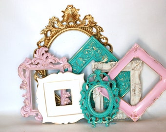 Picture Frames 7 ornate frames mixed sizes //gold pinks creams turquoise