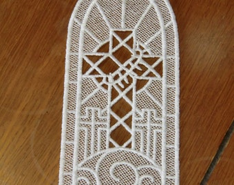 Embroidered Bookmark  -  Cross with Thorns - White