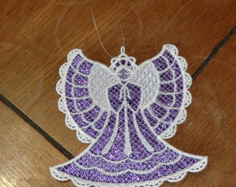 Embroidered Ornament Christmas - Mylar Angel Purple/White