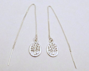 Sterling Silver Tree of Life with Heart Charms on Sterling Silver Threader Earrings - 1566