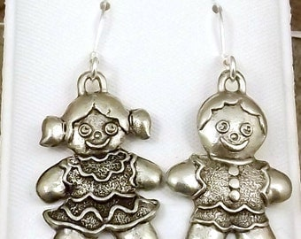 Pewter Gingerbread Boy and Girl Charms on Sterling Silver Ear Wire Dangle Earrings - Free Shipping in the US -5266/67