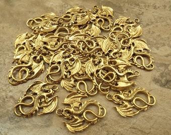 20 Gold Tone Pewter DRAGON Pendants - 5229