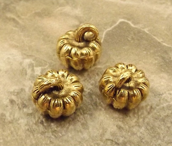 3 Pewter 3D Gold Tone Pumpkin Charms - 5520