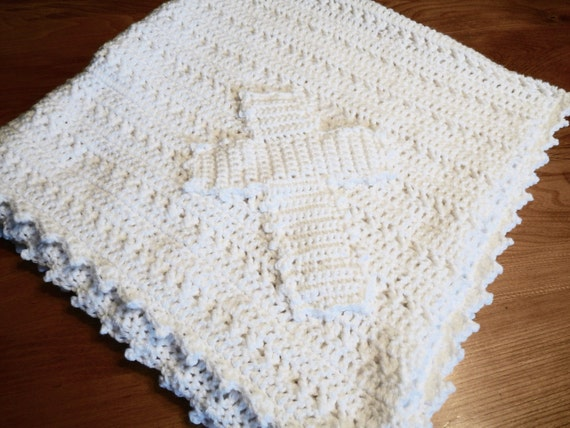 White Christening Blanket With Cross Appliqu 233 By
