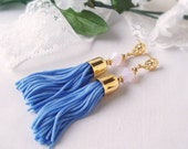 FREE SHIPPING Sky Blue Tassel Earrings, Large Tassels andGold Plated Bead Caps and Filigree Studs
