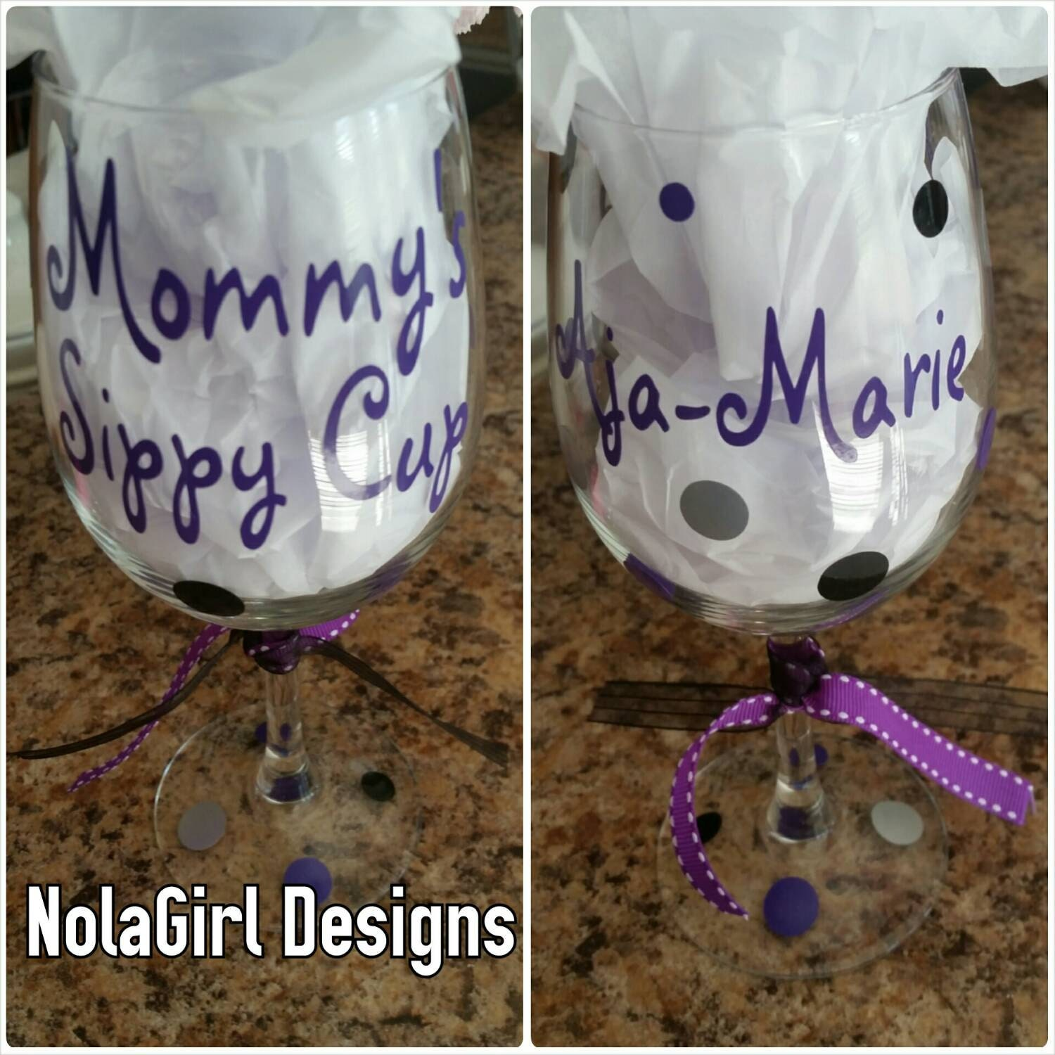 Mommy S Sippy Cup Wine Glass Vinyl Decorated