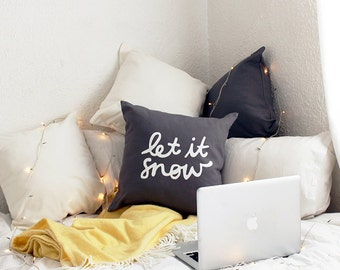 Let It Snow Throw Cushion Cover - Winter Wordy Cushion. Christmas cushion - Modern Christmas Decor