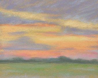 Original Art Field Impressionist Landscape Painting, pastel painting, size 8x10