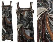 Emilio Pucci c. 1980 Couture Evening Dress 100% Silk w/ Swarovski Crystals Vintage Maxi Gown US Size 2-4 XS-S