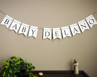 Baby Shower banner, handmade, Burlap Ribbon, Elephants and Elegant Pearls, Customize Your Colors