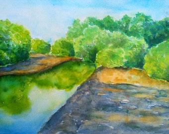 Watercolor landscape art, landscape original, landscape wall art, small watercolor art, small painting art, landscape painting, wall decor