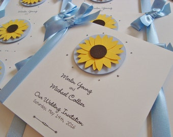 Personalised Sunflower Wedding Invitation Sample With Ribbon
