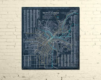 "Los Angeles Rail METAL Blueprint 24x26"" FREE SHIPPING"
