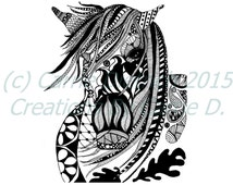 Black and White Art Pen and Ink Animals Horse Masquerade Signed 8 x 10 Print Home Decor Design Drawing