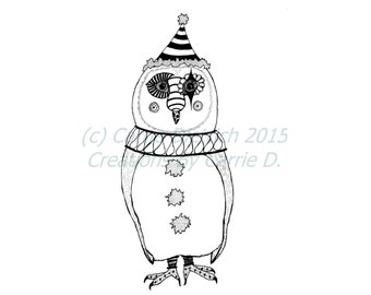 Owl Art, Owl Illustration, Animal Art, Black and White Art, Pen and Ink Art, Nursery Art, Clown Art, Circus Art, Owl Drawing, Bird Art, Ink