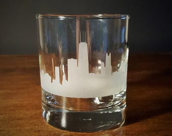 Chicago Skyline Old Fashioned Whiskey/Lowball Glasses - Set of 2