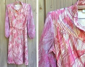 Vintage dress | 1970s abstract print Lady Carol Petites day dress with sheer sleeves