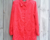 Vintage top | 1980s red faux silk Asian inspired Mandarin tunic blouse