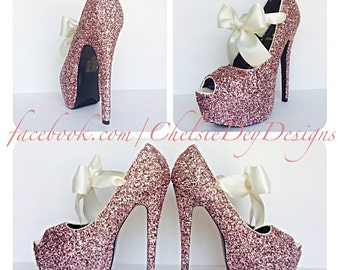 Glitter High Heels - Light Baby Pink - Open Peep Toe Pump - Platform Shoes - Ivory Cream White Satin Bows