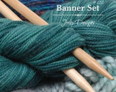 Etsy Cover Photo Set - Yarn - Etsy Banner Sets - Knitting Needles - Etsy Shop Banners - Knitting - blue - turquoise - teal