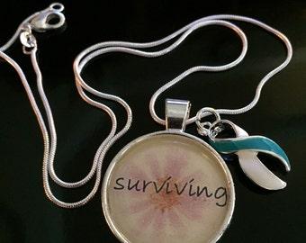 Cervical Cancer Awareness / Survivor - Teal and White Ribbon Charm - Surviving