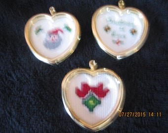 Set of three heart-shaped Christmas tree ornaments