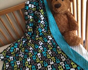 Michael Millers gorgeous guitar minky blanket