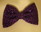 Big Purple Sequined Hair Bow