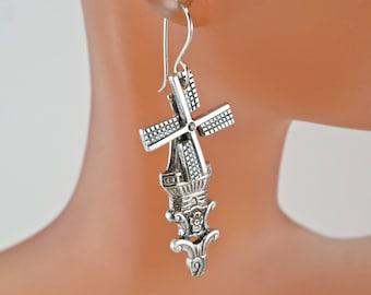Dutch Windmill  Earrings - Spoon Earrings - Vintage Silverware Earrings No.00155