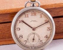 steel pocket watch,Doxa pocket watch,vintage pocket watch,mechanical pocket watch,art deco pocket watch,swiss pocket watch,mens pocket watch