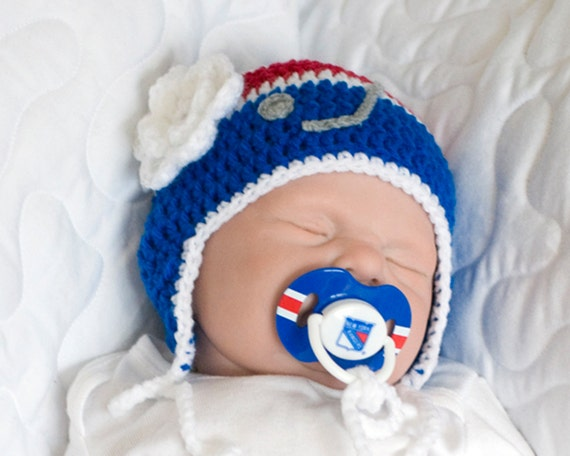 BABY GIRL HOCKEY, Rangers pacifier not included, Crochet Hockey Baby, Red White Blue Hockey, Baby Knit Hockey Hat, Newborn Hockey Crochet